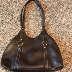 Brown Shoulder Bag W/ Silver Ring Accents